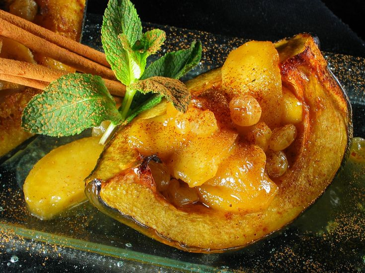 Barbecued acorn squash with a brown sugar glaze and a baked apple stuffing: http://gustotv.com/recipes/sides/barbecued-acorn-squash-brown-sugar-glaze-baked-apple-stuffing/