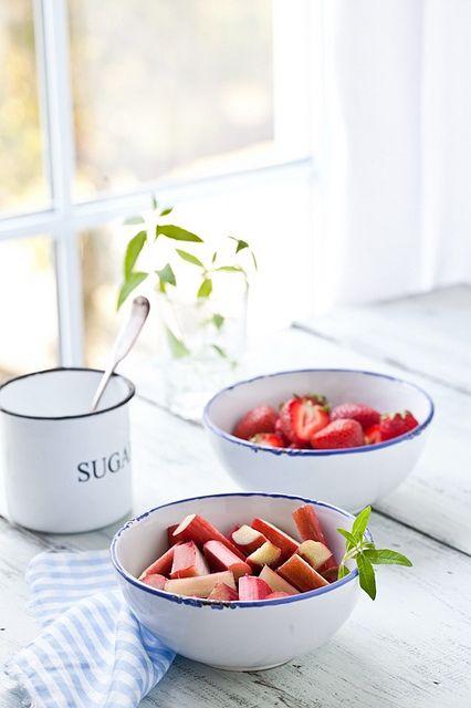 Rhubarb & Strawberries  by tartelette, via Flickr