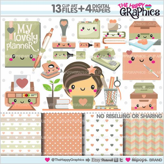 80%OFF Planner Clipart Planner Graphics COMMERCIAL USE
