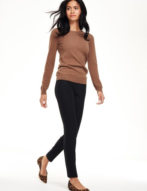 Outfit via Boden: neutral tan sweater, cropped black slacks, leopard shoes