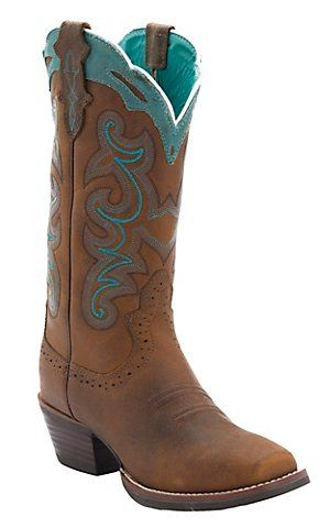 Justin® Ladies Silver Collection Brown Buffalo with Turquoise Detail Punchy Toe Western Boots | Cavender's