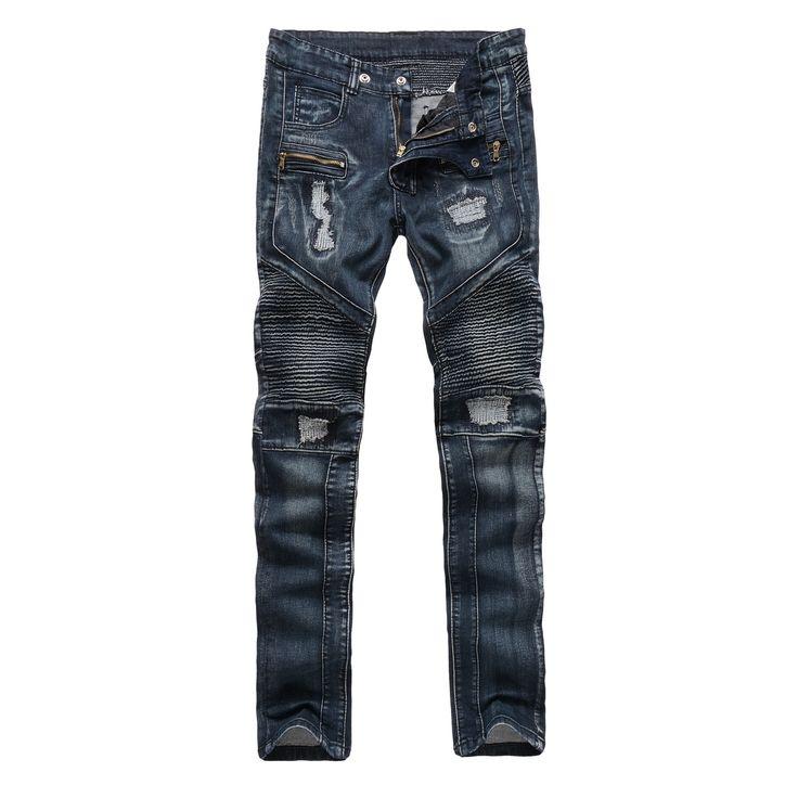 LENSTID Fashion Designer Jeans hombres Swag Hip Hop Biker Jeans Mens Flaco Slim Fit Plisado Pantalones Vaqueros Rasgados Destruidos Para hombres en Pantalones vaqueros de Ropa y Accesorios en AliExpress.com | Alibaba Group