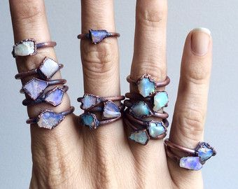 Raw Opal Ring Raw Stone Ring Stacking Rings by inbalmishan on Etsy
