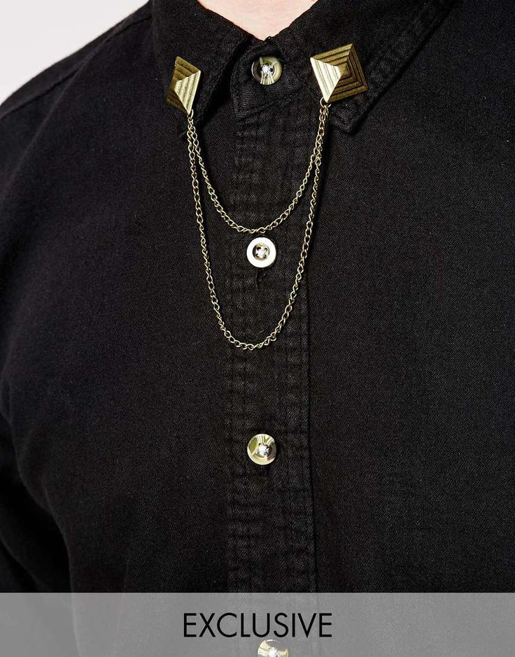 Reclaimed Vintage Pyramid Collar Tips With Chain