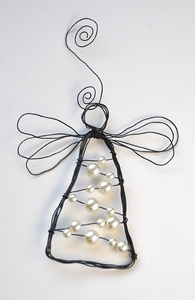 Large angel with lights strung instead of pearls