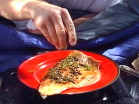 Alton Brown's Pan Fried Fish. Very simple yet so tasty. Made with skin on trout fillets.