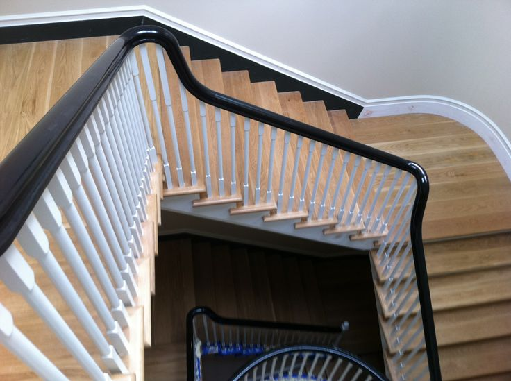 American White Oak Staircase Lime Wash Finish