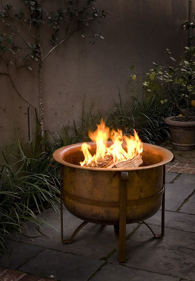 fire pit bowl insert rustic pits copper ideas propane