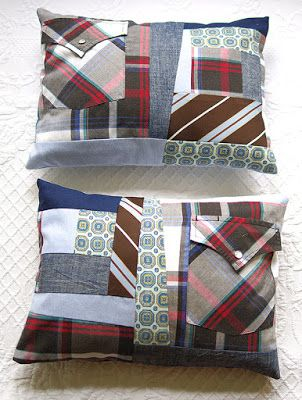 memory pillow project  use clothing , ties, shirts, etc to make a pillow cover  from loved ones clothes... great idea...