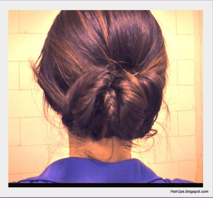 Elegant, easy hairstyles, hair tutorial: Fishtail Braided Sock Bun Chignon Updo Coiffure on Medium Long Hair (tags: wedding hairstyles, homecoming, prom, formal occasion, party hair