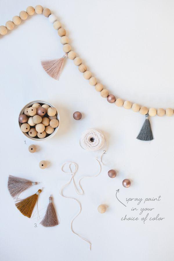 wood bead and tassel garland DIY