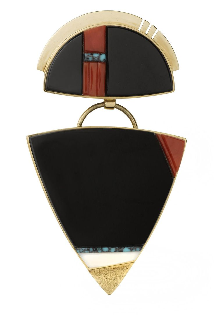Pendant of two articulated parts, of human shape, possibly of a katsina, 14kt gold, inlaid with black jade, carved coral, number 8 spider web turquoise, and onyx: Americas, USA, Southwest, San Felipe, by Richard Chavez, c. 2008