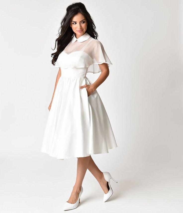 1940s Style White Brushed Cotton Luna Swing Dress & Mesh