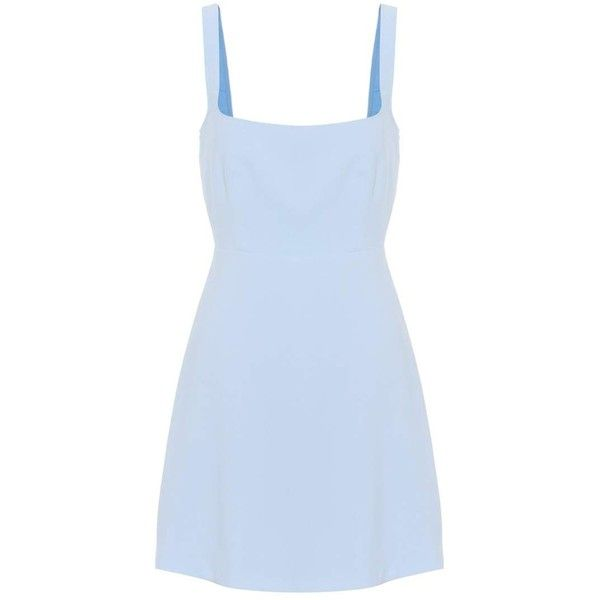 AlexaChung Crêpe Minidress ($490) ❤ liked on Polyvore featuring dresses, blue, blue color dress, alexachung, short blue dress, blue dress and blue mini dress