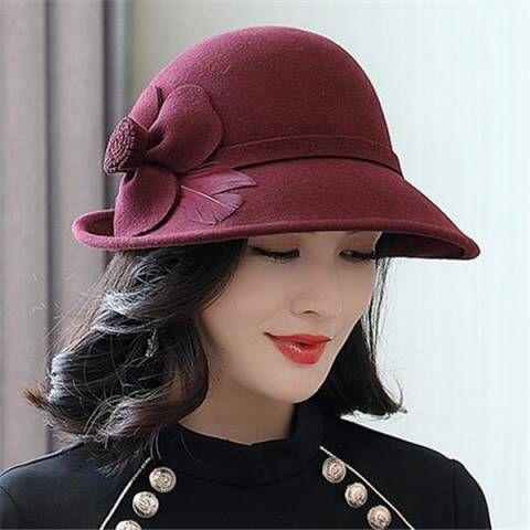 b25ba93bc Flower wool cloche hat for women fashion winter felt hats ...