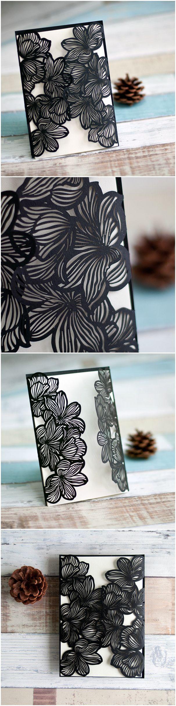black and white themed elegant laser cut wedding invitations