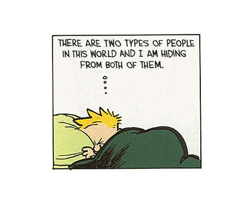 Calvin and Hobbes   two types of people - hiding from both of them . Some days are definitely like that