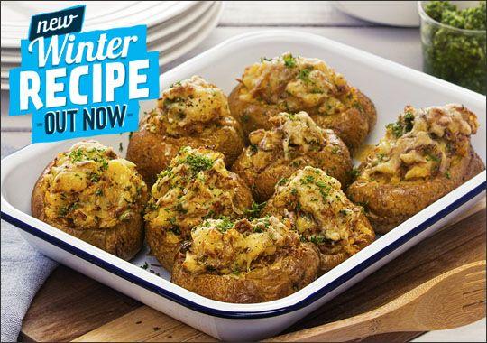 Tuna stuffed potatoes with parsley pesto
