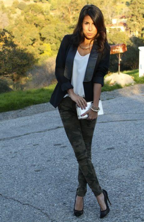 Camo outfit. Black blazer. White t. Camoflauge pants.