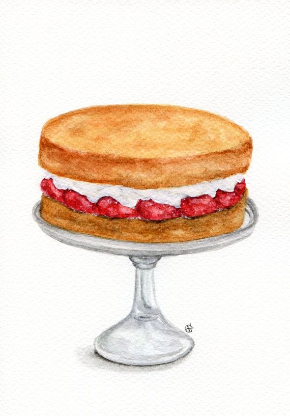 Watercolor Cake Clip Art : ORIGINAL Painting - Victoria Sponge Cake (Food Watercolors ...