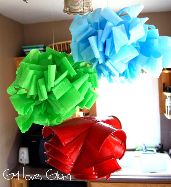 Streamer Flower Puffs & Ikea Lamp Knockoff - Girl Loves Glam