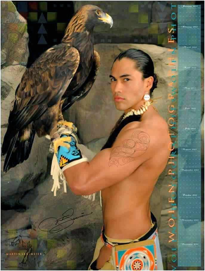 Native American Indian with eagle.