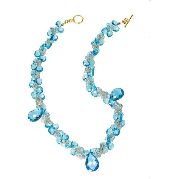 Blue Topaz Necklace With Three Drops ($3,950) ❤ liked on Polyvore featuring jewelry, necklaces, blue topaz jewelry, chain jewelry, chain necklace, facet jewelry and toggle necklace