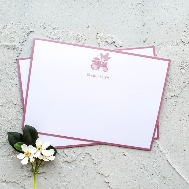 Personalised Orange Blossom Postcard Set  Personalised Note Cards Stationery with Flower Design
