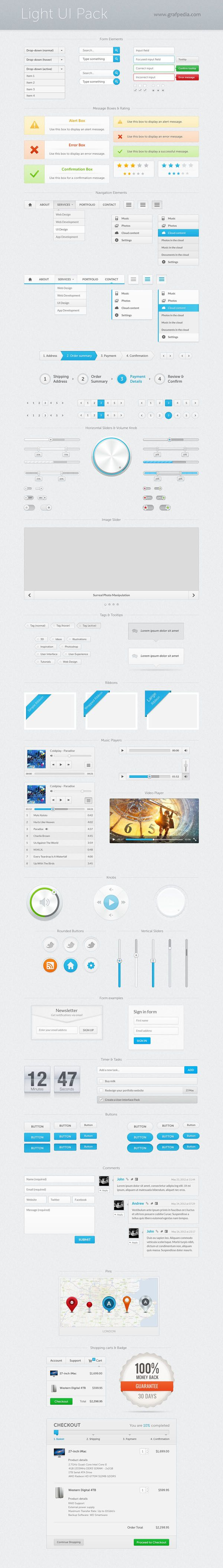 light ui kit by grafpedia --  #light  #ui  #kit  #free