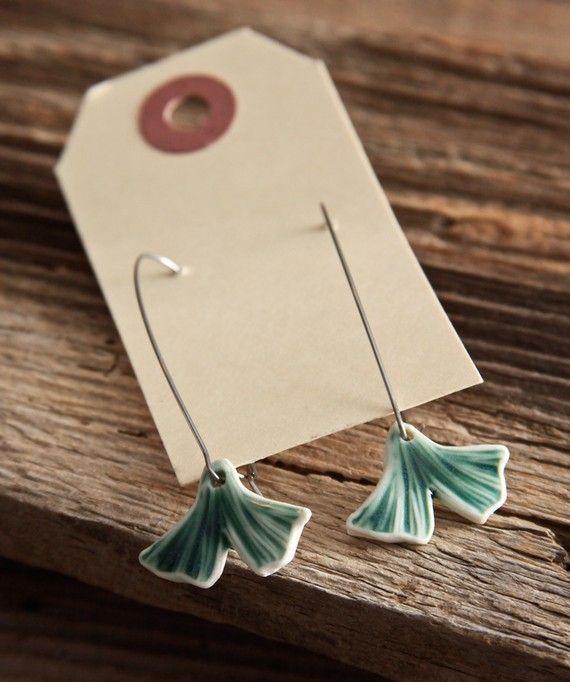 Tash McKelvey on etsy  porcelein ginkgo earrings