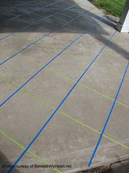 Stain Concrete Patio Slab To Create Marbled Tile Look