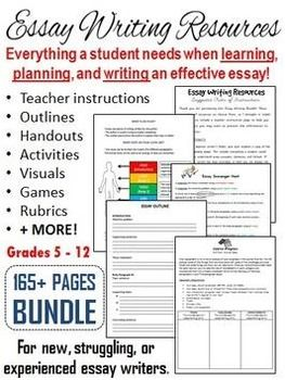 This bundle includes everything you need to teach your students how to write an effective essay. The various activities can be used for beginner, intermediate, and advanced essay writers! A suggested order of use page has been included to help you organize how you may like to present the information to your students.