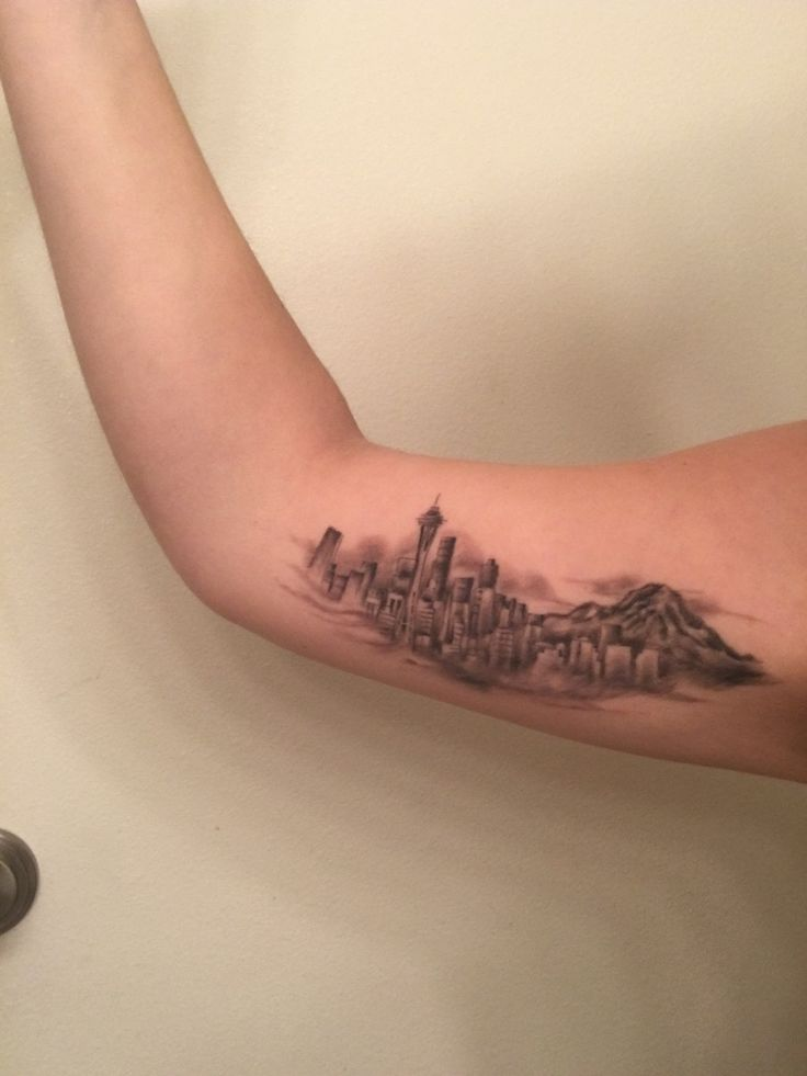 Seattle Skyline tattoo done by Beyond the Ink Tattoo in Seattle, WA Submit Your Tattoo Here: Tattoos.org