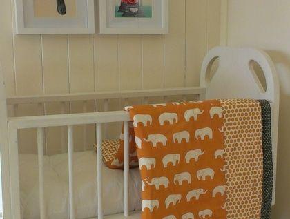 Organic Baby's Blanket (Orange Elephants with dots)