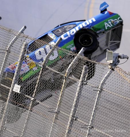 Carl Edwards  I was here about 10 rows back when this happened in 2009 at Talladega. A scary situation.