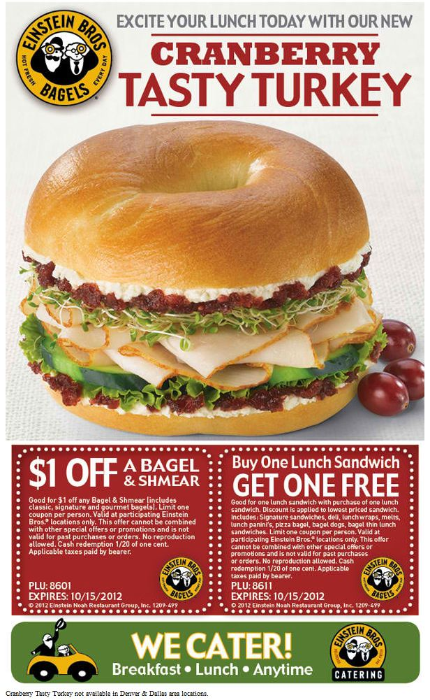 Second lunch sandwich free and more at Einstein Bros Bagels coupon via The Coupons App