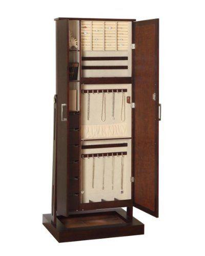 STANDING LOCKING JEWELRY Cabinet Storage Chest Box ORGANIZER DRESSING MIRROR  NEW