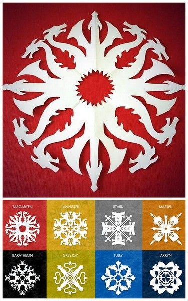 truebluemeandyou:  DIY 8 Game of Thrones Snowflake Patterns from Krystal Higgins here. For 56 Star Wars snowflake templates and other DIY sn...