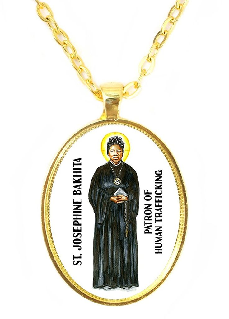 St Josephine Bakhita Patron of Human Trafficking Huge 30x40mm Bright Gold Pendant >>> To view further for this item, visit the image link. (This is an affiliate link and I receive a commission for the sales)