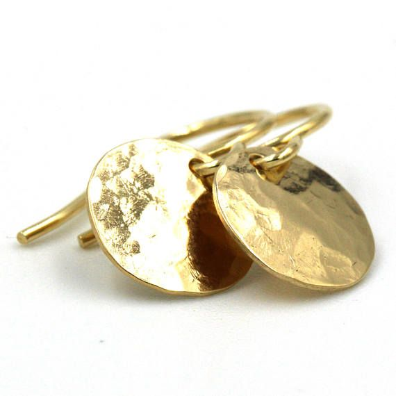 Gold Disc Earrings, Dangle Earrings, 14k Solid Earrings, Long Earrings, Gold Earrings, Solid Gold Earrings, Disc Earrings, Drop Earrings
