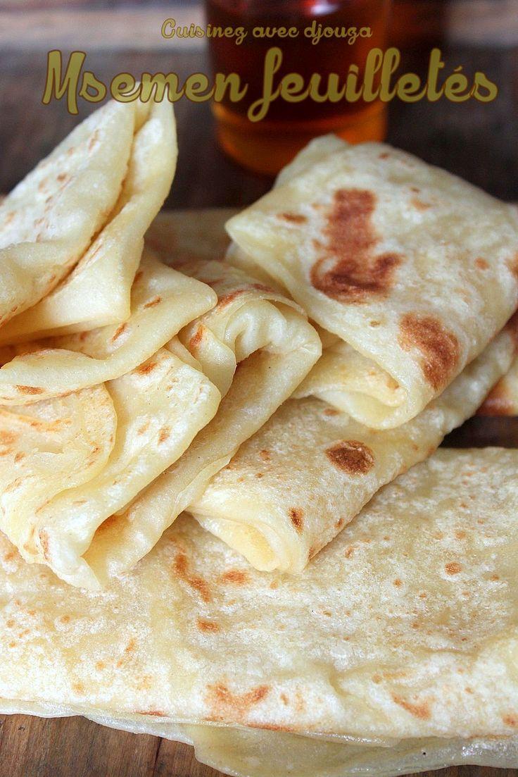 Des Msemen sucrés de Grande Kabylie. Une crêpe arabe à pâte très fine étalée à l'huile et pliee en carré. Différentes des crepes marocaines dans la façon