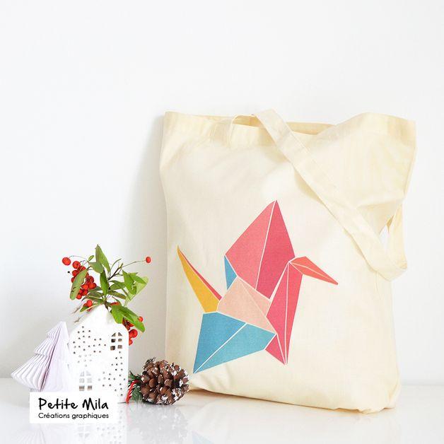 Tote bag #Origami - coton bio est une création orginale de Petitemila sur DaWanda
