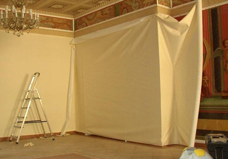 драпировка стен, текстильные обои, декор тканью