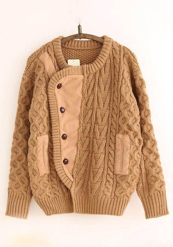 Camel Patchwork Pockets Single Breasted Cardigan
