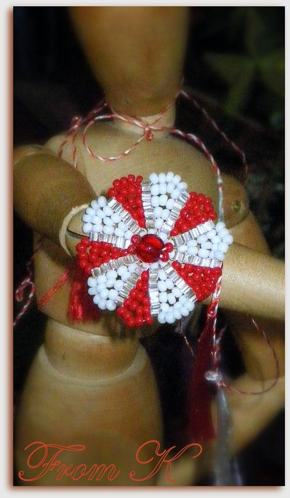 Spring wellcome ring. Red and white Czech seed beads. by FromK, $5.00