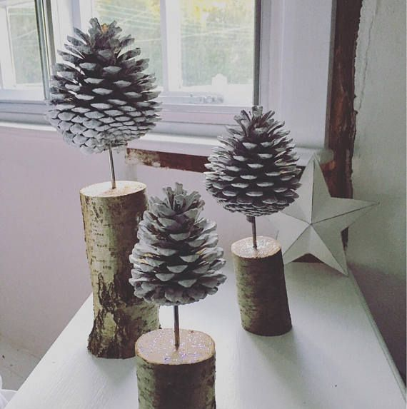 Nordic Fircone trees // Scandinavian style // set of 3 or