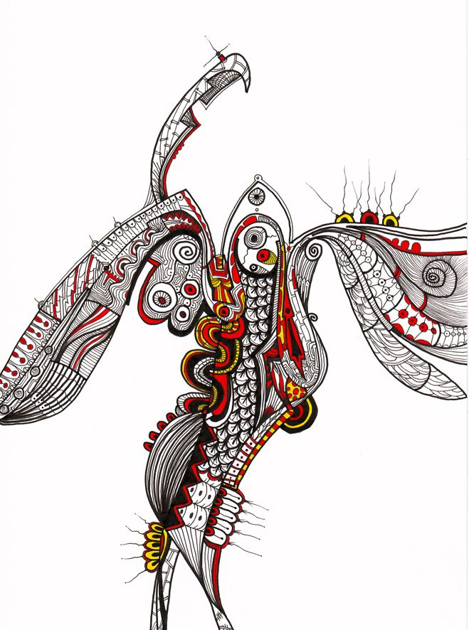 """""""Golondrina"""" Serie Animales e Insectos Tintas-color sobre cartulina Año: 2008"""