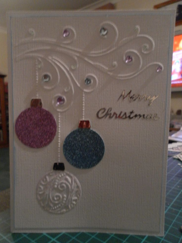 Christmas Card Using Crafts Too Swirl Baubles Embossing
