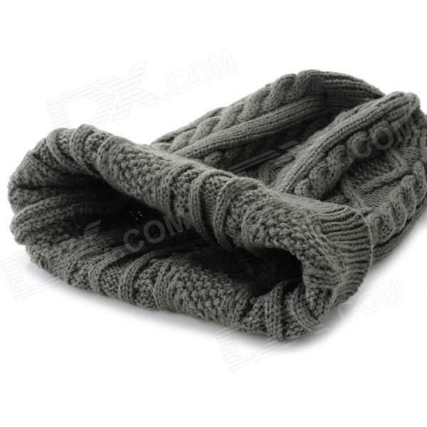 Women's Fashionable Autumn and Winter Warm Knitting Wool Hat - Grey