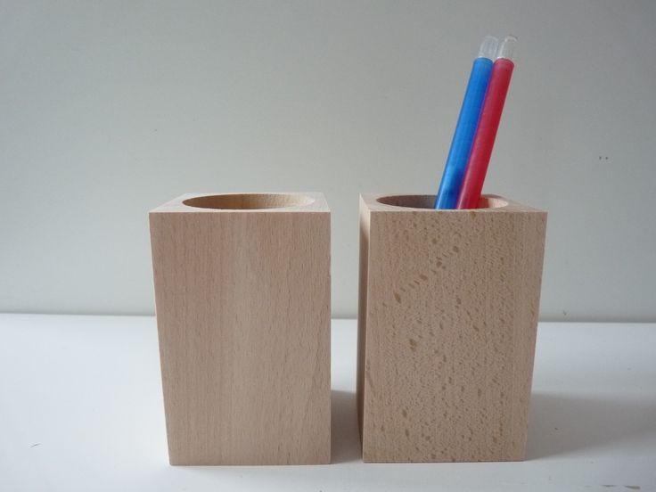 Set of 2 wooden pencil holders , wooden desk organizers, wooden square pencil holders, unfinished crayons holder, decoupage, unfinished wood
